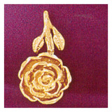 Rose Flower Charm Bracelet or Pendant Necklace in Yellow, White or Rose Gold DZ-6725 by Dazzlers