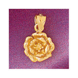 Rose Flower Charm Bracelet or Pendant Necklace in Yellow, White or Rose Gold DZ-6740 by Dazzlers