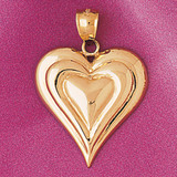 Floating Heart Charm Bracelet or Pendant Necklace in Yellow, White or Rose Gold DZ-3995 by Dazzlers