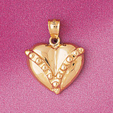 Floating Heart Charm Bracelet or Pendant Necklace in Yellow, White or Rose Gold DZ-4000 by Dazzlers