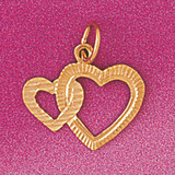 Floating Heart Charm Bracelet or Pendant Necklace in Yellow, White or Rose Gold DZ-4024 by Dazzlers