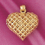 3-D Heart Charm Bracelet or Pendant Necklace in Yellow, White or Rose Gold DZ-3785 by Dazzlers