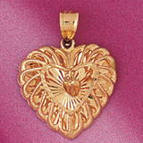 Heart Charm Bracelet or Pendant Necklace in Yellow, White or Rose Gold DZ-3786 by Dazzlers