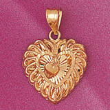 Heart Charm Bracelet or Pendant Necklace in Yellow, White or Rose Gold DZ-3787 by Dazzlers