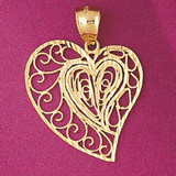 Heart Charm Bracelet or Pendant Necklace in Yellow, White or Rose Gold DZ-3788 by Dazzlers
