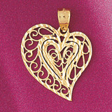 Heart Charm Bracelet or Pendant Necklace in Yellow, White or Rose Gold DZ-3789 by Dazzlers