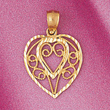 Heart Charm Bracelet or Pendant Necklace in Yellow, White or Rose Gold DZ-3790 by Dazzlers