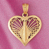 Heart Charm Bracelet or Pendant Necklace in Yellow, White or Rose Gold DZ-3791 by Dazzlers