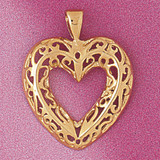 Heart Charm Bracelet or Pendant Necklace in Yellow, White or Rose Gold DZ-3792 by Dazzlers