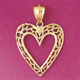 Heart Charm Bracelet or Pendant Necklace in Yellow, White or Rose Gold DZ-3793 by Dazzlers