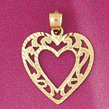 Heart Charm Bracelet or Pendant Necklace in Yellow, White or Rose Gold DZ-3794 by Dazzlers