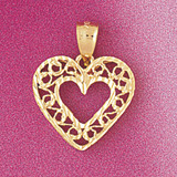 Heart Charm Bracelet or Pendant Necklace in Yellow, White or Rose Gold DZ-3795 by Dazzlers
