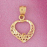 Heart Charm Bracelet or Pendant Necklace in Yellow, White or Rose Gold DZ-3798 by Dazzlers
