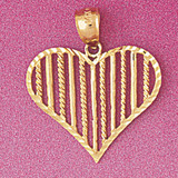 Heart Charm Bracelet or Pendant Necklace in Yellow, White or Rose Gold DZ-3799 by Dazzlers