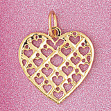 Heart Charm Bracelet or Pendant Necklace in Yellow, White or Rose Gold DZ-3802 by Dazzlers