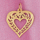 Heart Charm Bracelet or Pendant Necklace in Yellow, White or Rose Gold DZ-3803 by Dazzlers