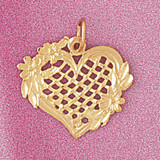 Heart Charm Bracelet or Pendant Necklace in Yellow, White or Rose Gold DZ-3804 by Dazzlers