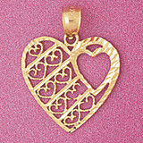 Heart Charm Bracelet or Pendant Necklace in Yellow, White or Rose Gold DZ-3806 by Dazzlers