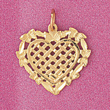 Heart Charm Bracelet or Pendant Necklace in Yellow, White or Rose Gold DZ-3807 by Dazzlers