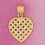 Heart Charm Bracelet or Pendant Necklace in Yellow, White or Rose Gold DZ-3808 by Dazzlers