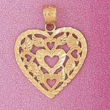 Heart Charm Bracelet or Pendant Necklace in Yellow, White or Rose Gold DZ-3809 by Dazzlers