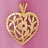 Heart Charm Bracelet or Pendant Necklace in Yellow, White or Rose Gold DZ-3810 by Dazzlers