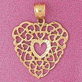 Heart Charm Bracelet or Pendant Necklace in Yellow, White or Rose Gold DZ-3812 by Dazzlers