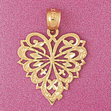 Heart Charm Bracelet or Pendant Necklace in Yellow, White or Rose Gold DZ-3813 by Dazzlers