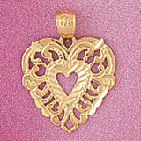 Heart Charm Bracelet or Pendant Necklace in Yellow, White or Rose Gold DZ-3814 by Dazzlers