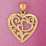 Heart Charm Bracelet or Pendant Necklace in Yellow, White or Rose Gold DZ-3815 by Dazzlers