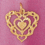 Heart Charm Bracelet or Pendant Necklace in Yellow, White or Rose Gold DZ-3816 by Dazzlers