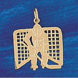 Hockey Player Charm Bracelet or Pendant Necklace in Yellow, White or Rose Gold DZ-3582 by Dazzlers