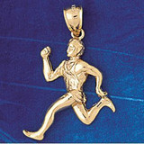 Running Figure Charm Bracelet or Pendant Necklace in Yellow, White or Rose Gold DZ-3590 by Dazzlers