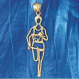 Running Figure Charm Bracelet or Pendant Necklace in Yellow, White or Rose Gold DZ-3595 by Dazzlers