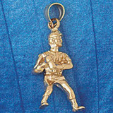 Football Player Charm Bracelet or Pendant Necklace in Yellow, White or Rose Gold DZ-3189 by Dazzlers