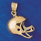 Football Helmet Charm Bracelet or Pendant Necklace in Yellow, White or Rose Gold DZ-3199 by Dazzlers