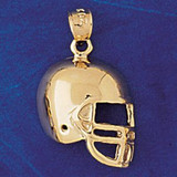 Football Helmet Charm Bracelet or Pendant Necklace in Yellow, White or Rose Gold DZ-3200 by Dazzlers
