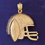 Football Helmet Charm Bracelet or Pendant Necklace in Yellow, White or Rose Gold DZ-3201 by Dazzlers