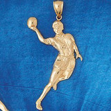 Basketball Player Charm Bracelet or Pendant Necklace in Yellow, White or Rose Gold DZ-3217 by Dazzlers