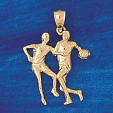 Basketball Player Charm Bracelet or Pendant Necklace in Yellow, White or Rose Gold DZ-3226 by Dazzlers