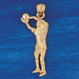 Basketball Player Charm Bracelet or Pendant Necklace in Yellow, White or Rose Gold DZ-3227 by Dazzlers