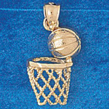 Basketball Ball and Board Charm Bracelet or Pendant Necklace in Yellow, White or Rose Gold DZ-3239 by Dazzlers