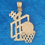 Basketball Ball and Board Charm Bracelet or Pendant Necklace in Yellow, White or Rose Gold DZ-3240 by Dazzlers