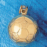 Soccer Ball Charm Bracelet or Pendant Necklace in Yellow, White or Rose Gold DZ-3252 by Dazzlers