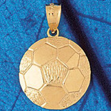 Soccer Ball Charm Bracelet or Pendant Necklace in Yellow, White or Rose Gold DZ-3255 by Dazzlers