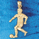 Soccer Player Charm Bracelet or Pendant Necklace in Yellow, White or Rose Gold DZ-3259 by Dazzlers