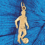 Soccer Player Charm Bracelet or Pendant Necklace in Yellow, White or Rose Gold DZ-3260 by Dazzlers