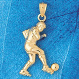 Soccer Player Charm Bracelet or Pendant Necklace in Yellow, White or Rose Gold DZ-3264 by Dazzlers