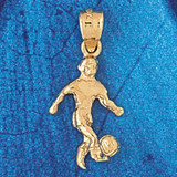 Soccer Player Charm Bracelet or Pendant Necklace in Yellow, White or Rose Gold DZ-3266 by Dazzlers