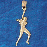 Baseball Player Charm Bracelet or Pendant Necklace in Yellow, White or Rose Gold DZ-3323 by Dazzlers